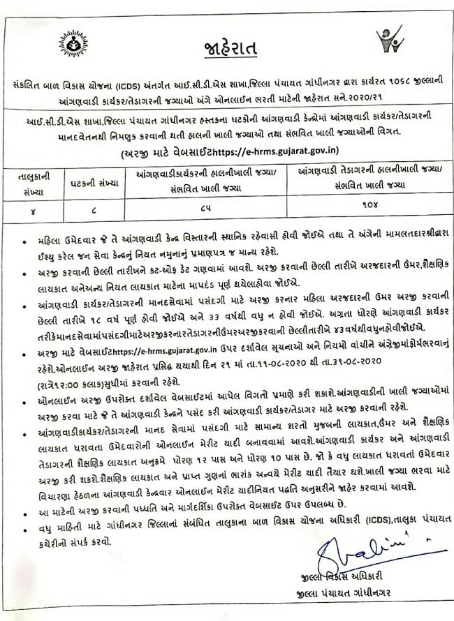 Anganwadi Bharati Advertisement  Gandhinagar 2020