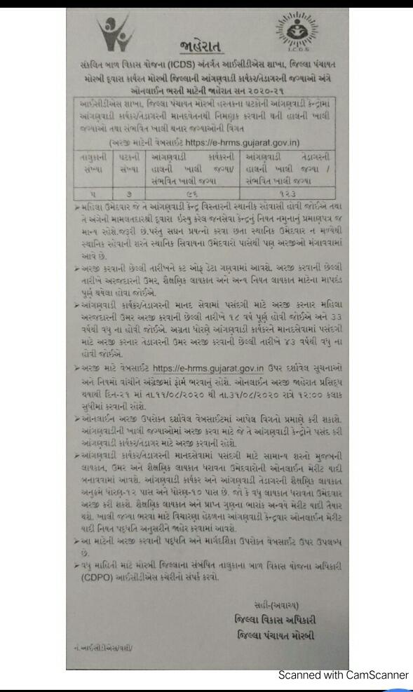 Morbi Anganwadi Advertisement  Bharti  2020