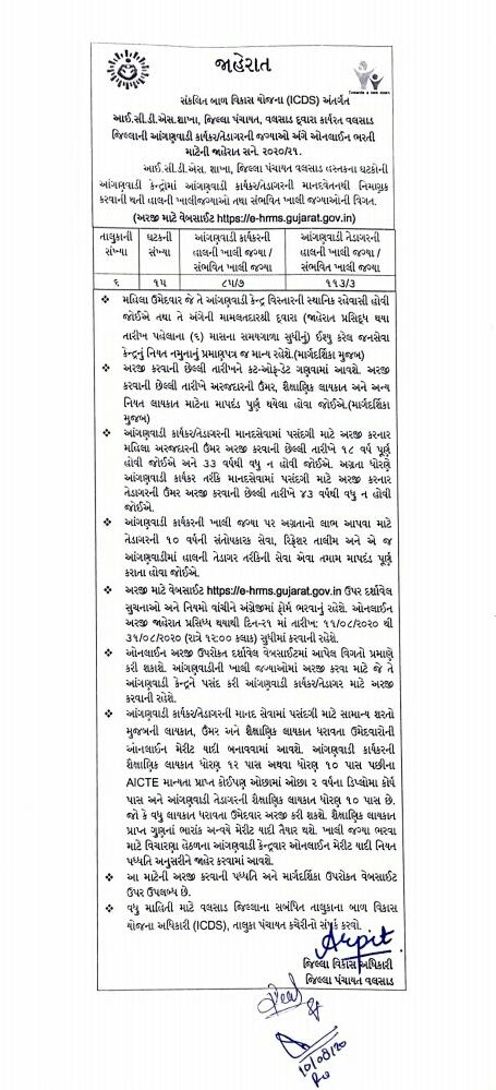 Valsad Anganwadi Advertisement  Bharti  2020